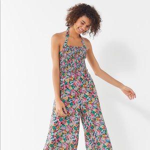 UO Lola Smocked Halter Jumpsuit Floral Multicolor